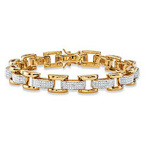 Men's Diamond Accent Pave-Style Two-Tone Fancy-Link Bracelet Yellow Gold-Plated 9.5