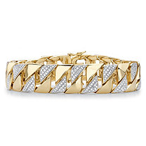 Men's Diamond Accent 18k Gold-Plated Two-Tone Curb-Link Bracelet 9.5