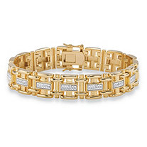 Men's Diamond Accent Pave-Style Two-Tone Bar-Link Bracelet Yellow Gold-Plated 9.5