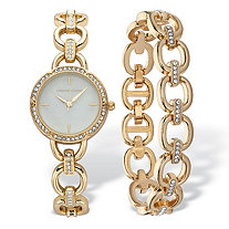 Round White Crystal Accent Chain Link 2 Piece Watch Set Goldtone 7.5