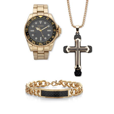 """Men's 3 Piece Rocawear Watch,Bracelet & Pendant Gift Set Gold Ion Plated Stainless Steel 7.5"""" Length Adjustable at PalmBeach Jewelry"""