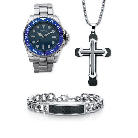 """Men's 3 Piece Rocawear Watch,Bracelet & Pendant Gift Set Ion Plated Stainless Steel 7.5"""" Length Adjustable at PalmBeach Jewelry"""