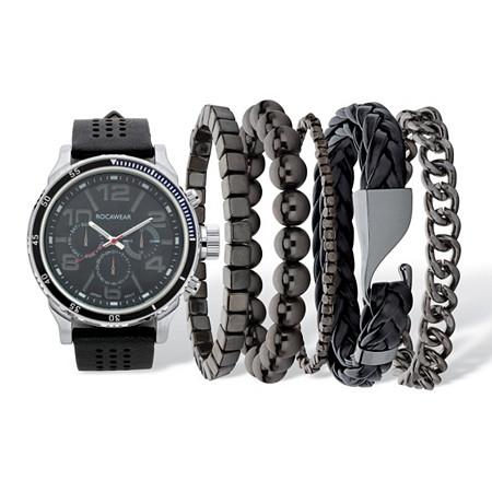 "Men's Black Rockawear Sports Watch With 5 Piece Bracelet Set Black Ion-Plated Stainless Steel 10"" Adjustable at PalmBeach Jewelry"
