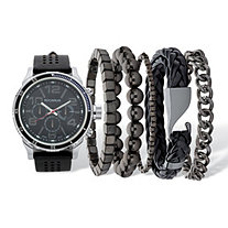 Men's Black Rockawear Sports Watch With 5 Piece Bracelet Set Black Ion-Plated Stainless Steel 10