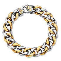 Men's Two-Tone Gold Ion Plated Stainless Steel Curb Link Bracelet 8.5