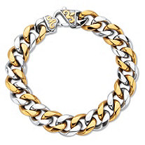 Men's Two Tone Yellow Gold Ion Plated Stainless Steel Curb Link Chain Bracelet 10