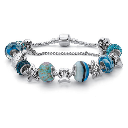 "Round Blue Crystal ""Sea Life"" Turtle and Starfish Charm Bracelet Silvertone 8"" Length at PalmBeach Jewelry"