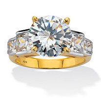 Round Cubic Zirconia Step Top Engagement Ring 6.86 TCW 18K Yellow Gold Plated Sterling Silver