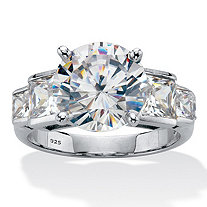 Round Cubic Zirconia Step Top Engagement Ring 6.86 TCW Platinum Plated Sterling Silver