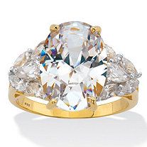 18K Yellow Gold Plated Sterling Silver Oval Cut Cubic Zirconia Engagement Ring