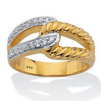 Round White Cubic Zirconia  Interlocking Loop Ring 18k Gold Plated Silver .24 TCW