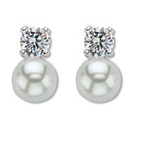White Round Simulated Pearls Drop Earrings With Crystal Accents (10x6MM) Silvertone