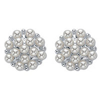 White Round Simulated Pearl Cluster Earrings Silvertone