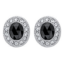 Oval Checkerboard Cut Simulated Black Onyx With Crystal Accent Earrings Silvertone Omega Back
