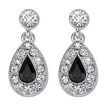 Silvertone Simulated Pear Cut Black Onyx and Round Crystals Drop Earrings