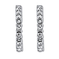 Round White Crystal Demi Hoop Earrings Silvertone