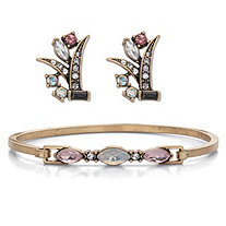Marquise Cut Fiery Aurora Borealis Crystal 2 Piece Bracelet and Earring Set Antiqued Goldtone