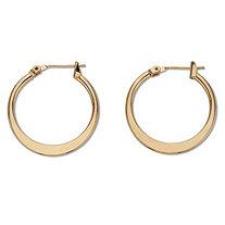 Flat Hoop Earrings Goldtone 3/4