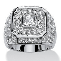 Men's 2.33 TCW Square-Cut and Round Cubic Zirconia Octagon Grid Ring Platinum-Plated