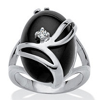 Oval-Shaped Onyx and Crystal Accent Cocktail Ring in Platinum Plated