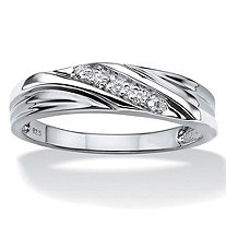 SETA JEWELRY Men's Round Cubic Zirconia Platinum Plated Sterling Silver Wedding Band Ring