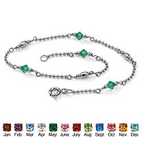 SETA JEWELRY Simulated Birthstone Beaded Ankle Bracelet Platinum Plated Sterling Silver 11 Inches