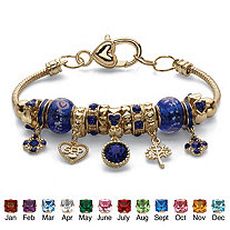 """Simulated Birthstone Crystal Bali-Style Beaded Charm Bracelet in Antiqued Goldtone 8"""""""