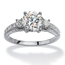 2.38 TCW Round Cubic Zirconia Engagement Anniversary Ring Platinum Plated Sterling Silver