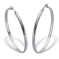 Sterling Silver Diamond Cut Beaded Edge High Polished Hoops 2