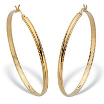 Diamond Cut Beaded Edge High Polished Hoops 18K Gold Plated Sterling Silver  2