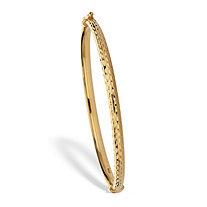 High Polished Hammered Bangle Bracelet 18k Gold Plated Sterling Silver 7.75