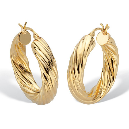 """Twisted Hoop Earrings 18k Gold Plated Silver 1 1/4"""" Diameter at PalmBeach Jewelry"""