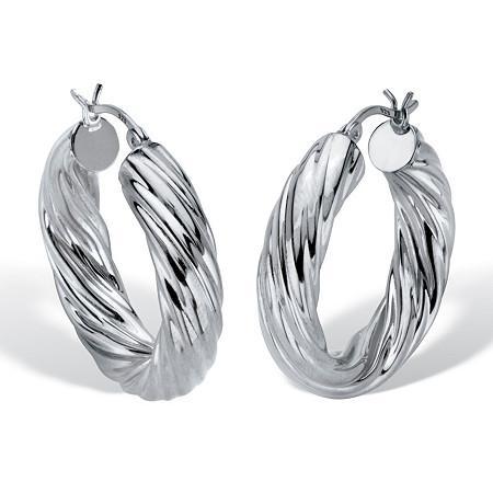 "Twisted Hoop Earrings .925 Sterling Silver 1 1/4"" Diameter at PalmBeach Jewelry"