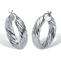 Twisted Hoop Earrings .925 Sterling Silver 1 1/4