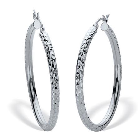 "Diamond Cut Hoops Sterling Silver 1 1/2"" Diameter at PalmBeach Jewelry"
