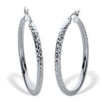 Diamond Cut Hoops Sterling Silver 1 1/2