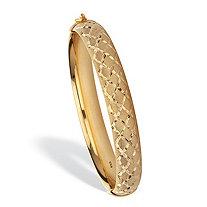 Diamond Cut Bangle Bracelet 18K Gold Plated Sterling Silver 7.75