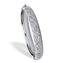 Diamond Cut .925 Sterling Silver Bangle Bracelet 7.75