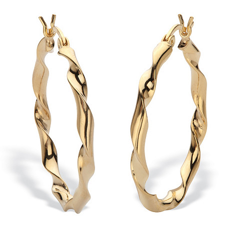 """Twisted Hoop Earrings 18k Gold Plated Sterling Silver 1 1/4"""" Diameter at PalmBeach Jewelry"""