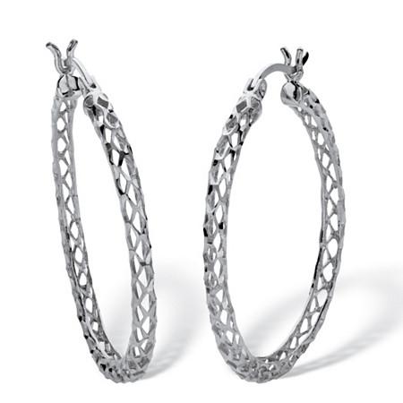 "Diamond Cut Hoop Earrings Sterling Silver 1 1/4"" Diameter at PalmBeach Jewelry"