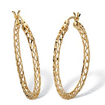 18k Gold Plated Sterling Silver Diamond Cut Hoop Earrings 1 1/4