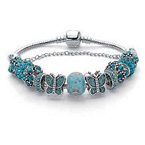 """Blue Crystal Bali Style Silvertone Butterfly & Star Bracelet 8"""" Length"""