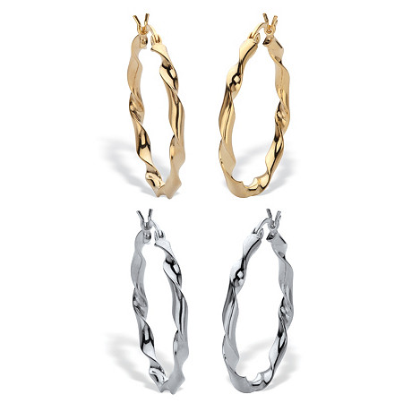 """2 Pair Twisted Hoop Earring Set Silver & 18k Gold Plated Silver 1 1/4"""" Diameter at PalmBeach Jewelry"""