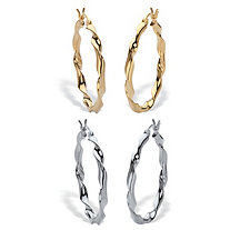 2 Pair Twisted Hoop Earring Set Silver & 18k Gold Plated Silver 1 1/4