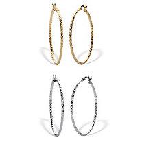 2 Pair Diamond Cut Hoop Earring Set .925 & 18k Gold Plated .925 1 3/4