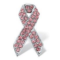 "Pink Round Crystal Breast Cancer Awareness Ribbon Pin Silvertone 1 1/2"" Length"