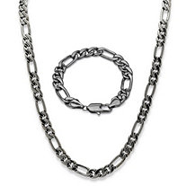 "Men's Black Rhodium-Plated Figaro-Link 2-Piece Bracelet 9"" & 30"" Chain Set"