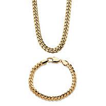 """Men's 10.5 mm Curb-Link 10"""" Bracelet & 30"""" Chain Necklace 2-Piece Set"""