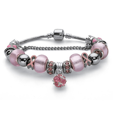 """Breast Cancer Awareness Pink Crystal Bali-Style Half Beaded Bracelet Adjustable in Silvertone 7.25"""" Length"""" at PalmBeach Jewelry"""