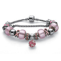 Breast Cancer Awareness Pink Crystal Bali-Style Half Beaded Bracelet Adjustable in Silvertone 7.25